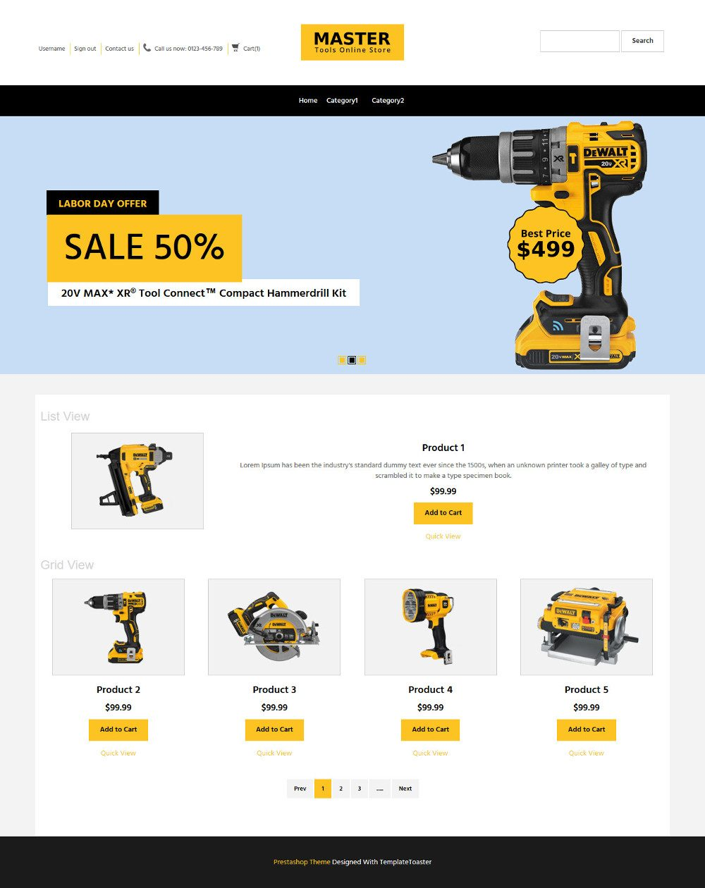 MasterTool Tools Store OpenCart Theme