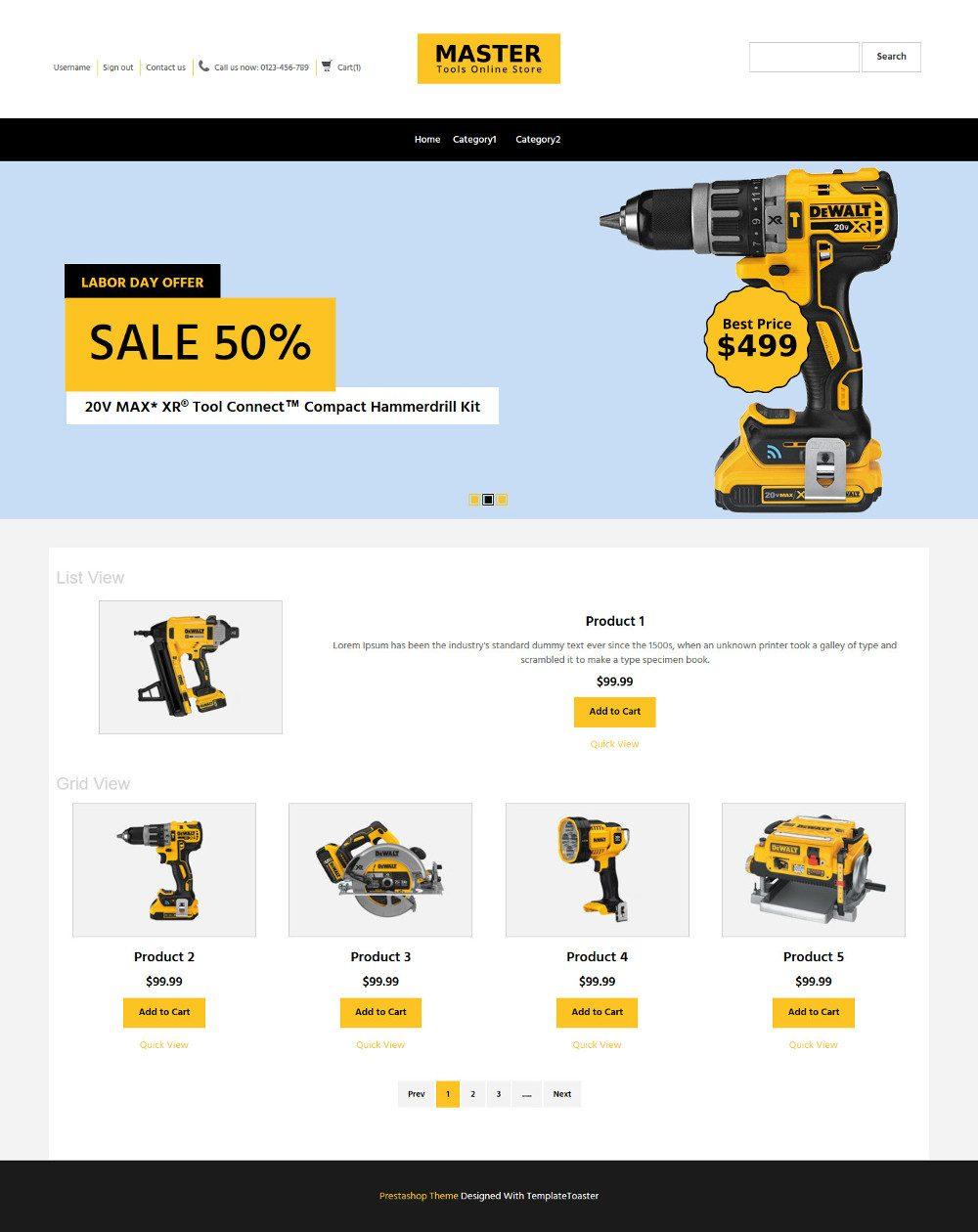 MasterTool Tools Store Virtuemart Template