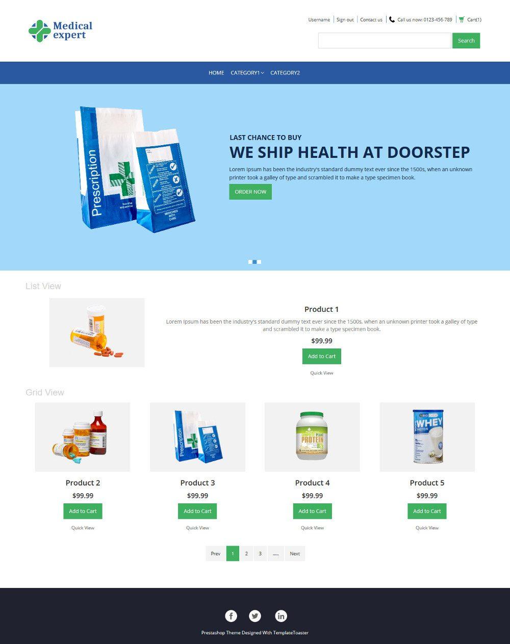 Medical Expert Online Medical Store Virtuemart Template