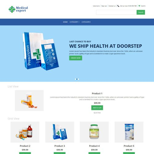 Medical Expert Online Medical Store Virtuemart Template
