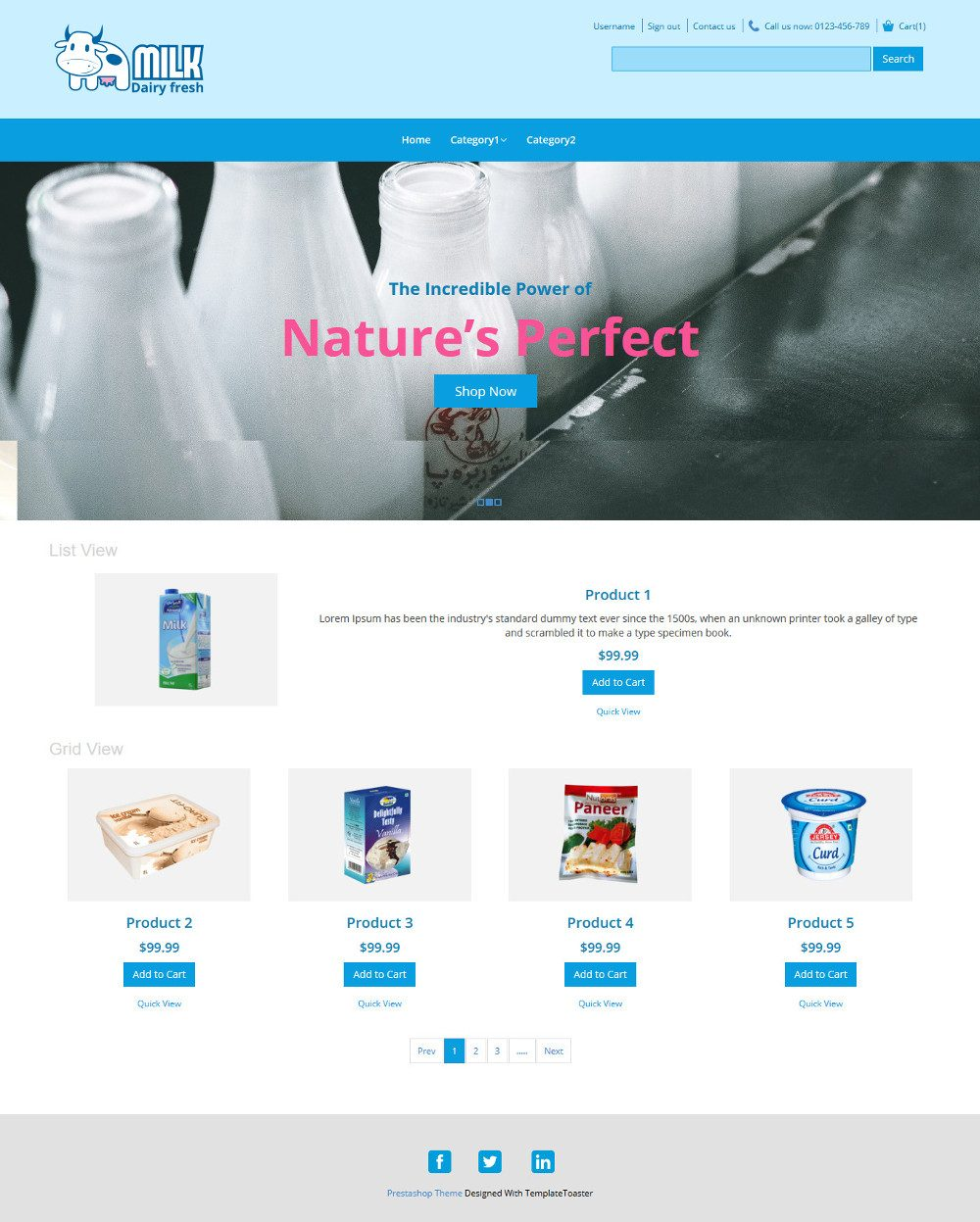 Milk Dairy Fresh Dairy Products OpenCart Theme