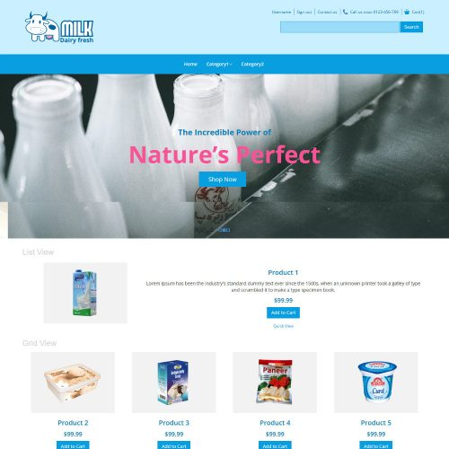 Milk Dairy Fresh Dairy Products Virtuemart Template