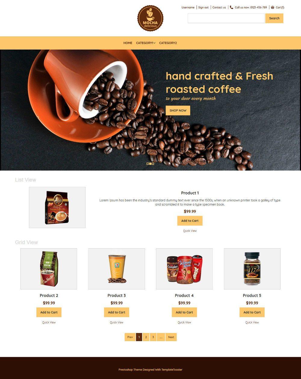 Mocha Coffee Shop OpenCart Theme
