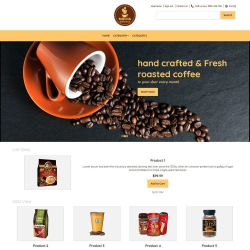 Mocha Coffee Shop Virtuemart Template