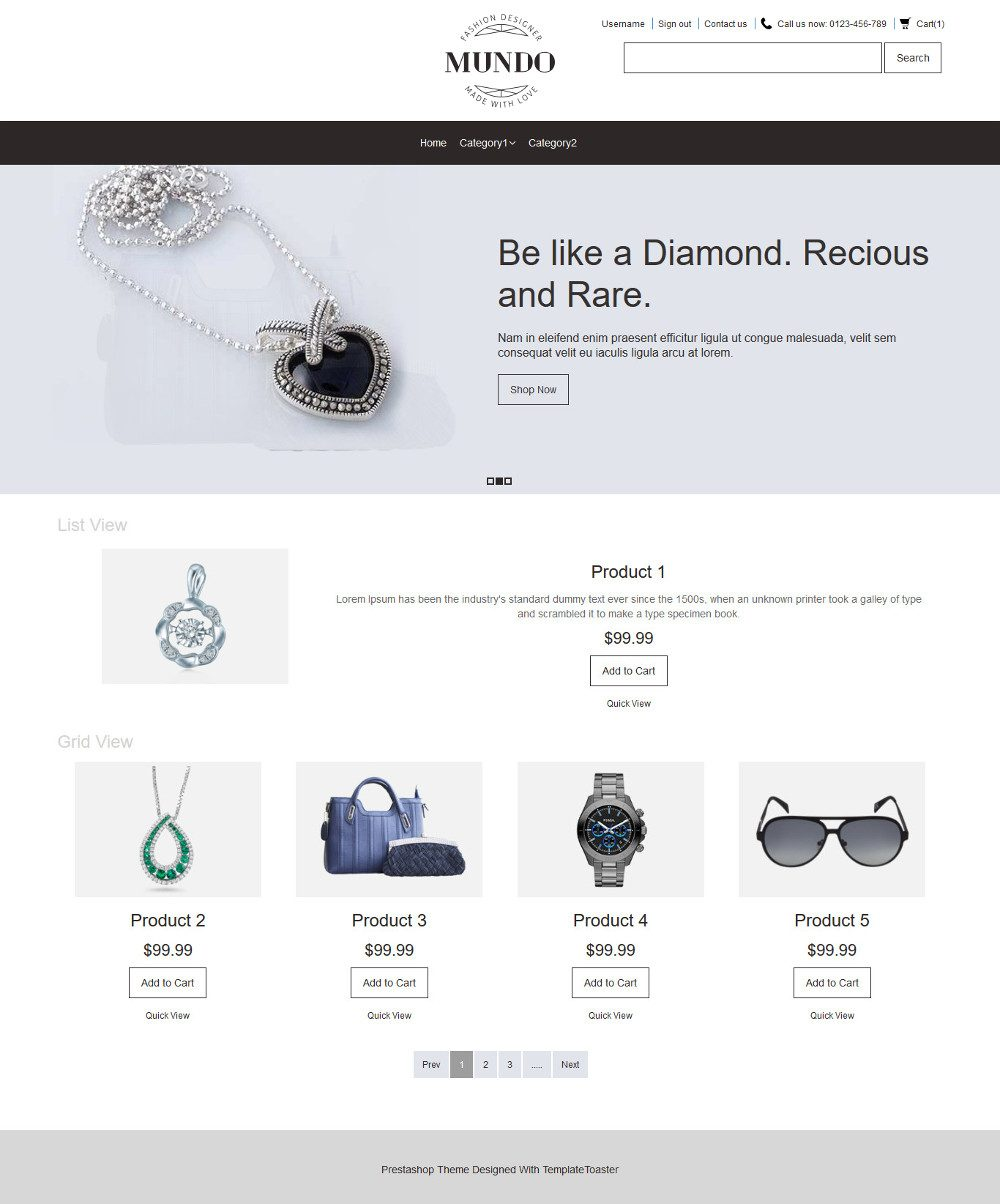 Mundo Fashion Accessories OpenCart Theme