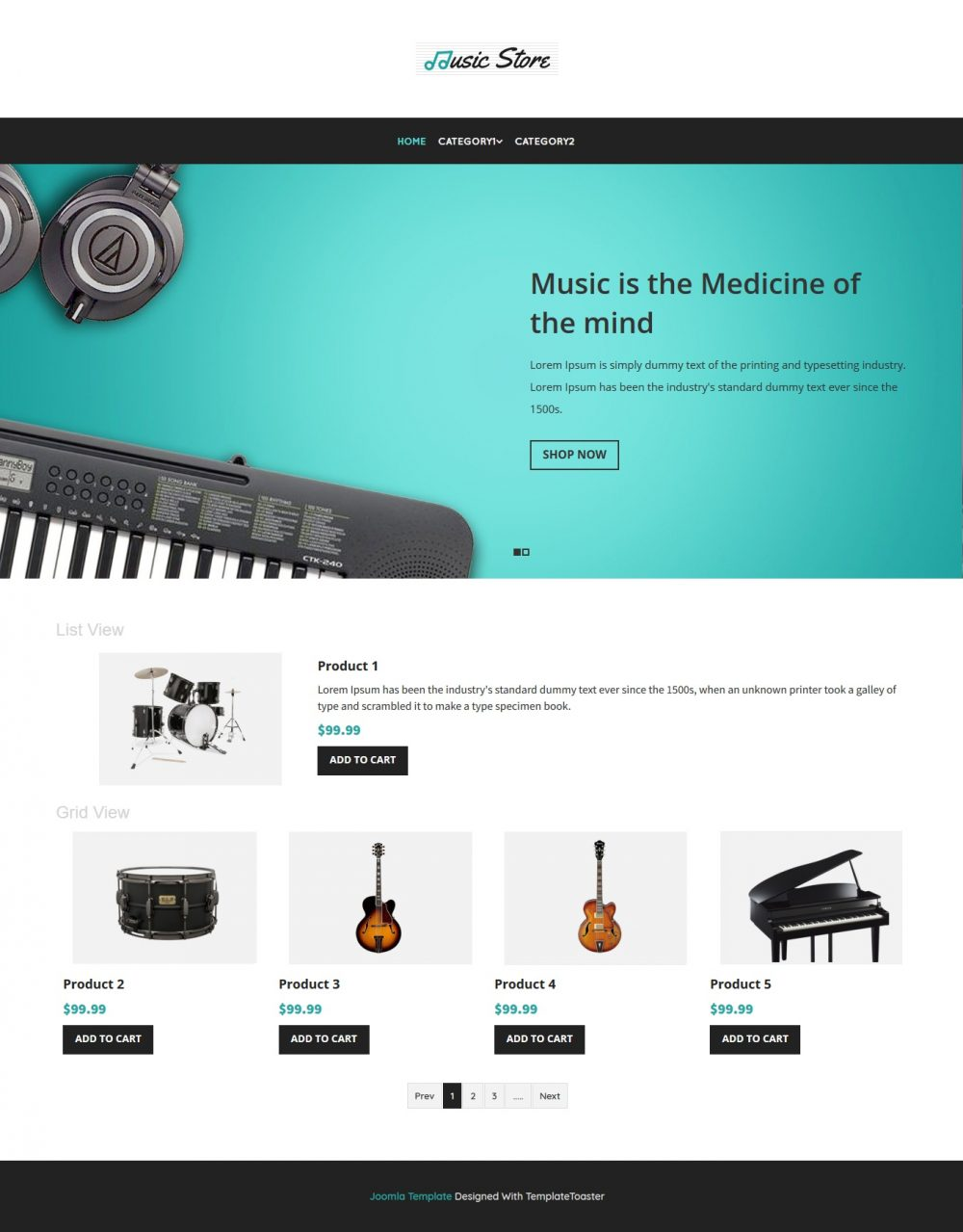 Music Instruments Store virtuemart template
