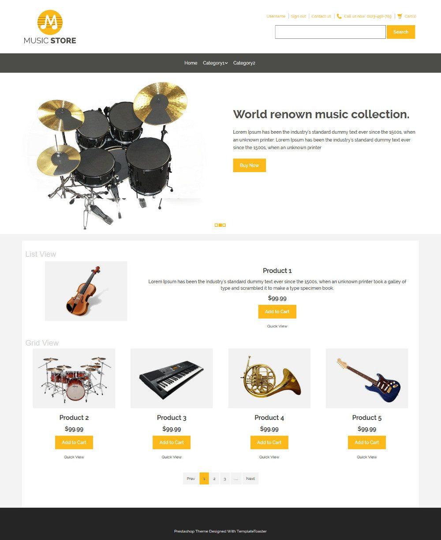Music Store Music Instruments Virtuemart Template