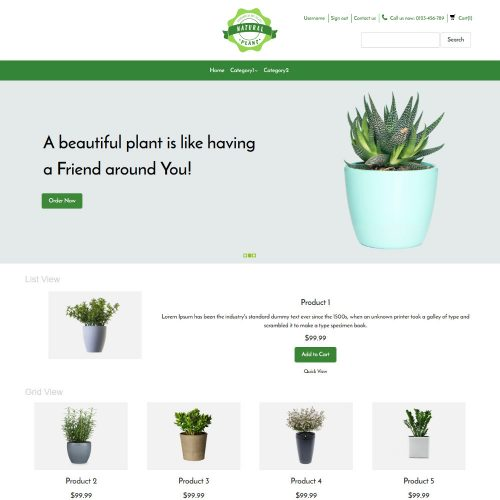 Natural Plant Online Plants Selling OpenCart Theme