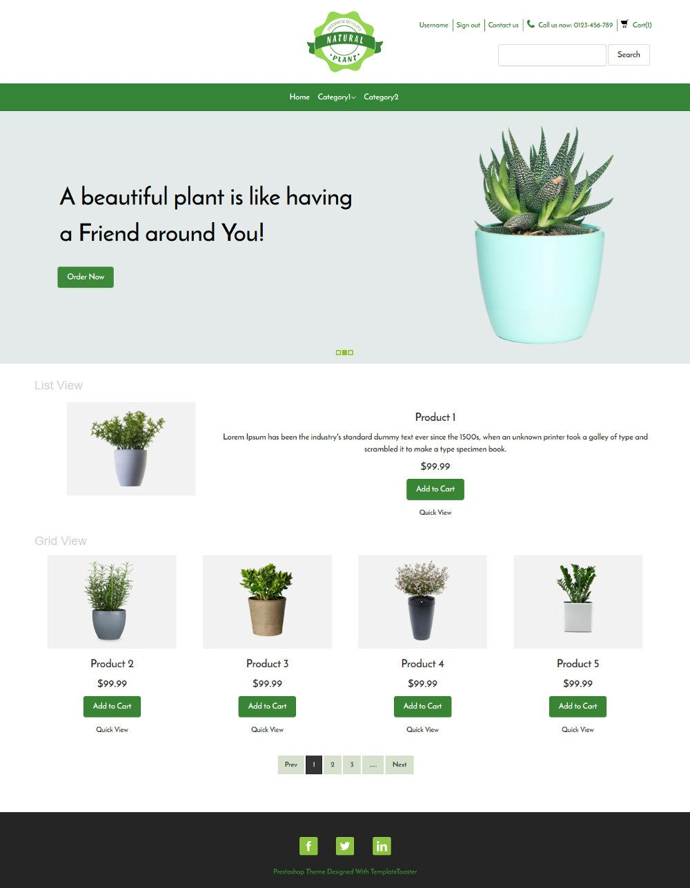 Natural Plant Online Plants Selling Virtuemart Template