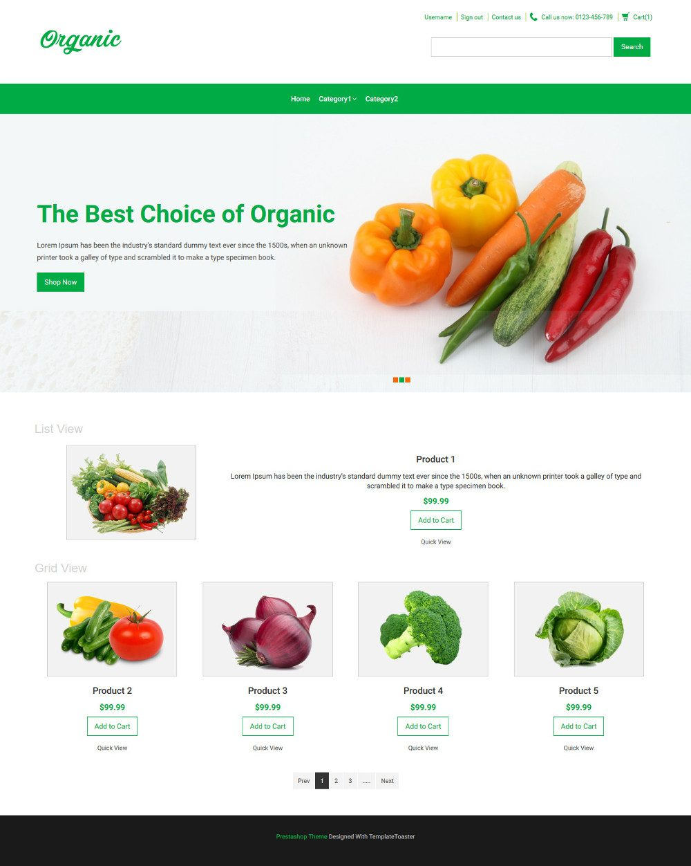 Organic Food Virtuemart Template