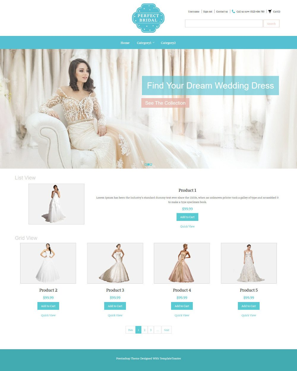 Perfect Bridal Wedding Dresses OpenCart Theme