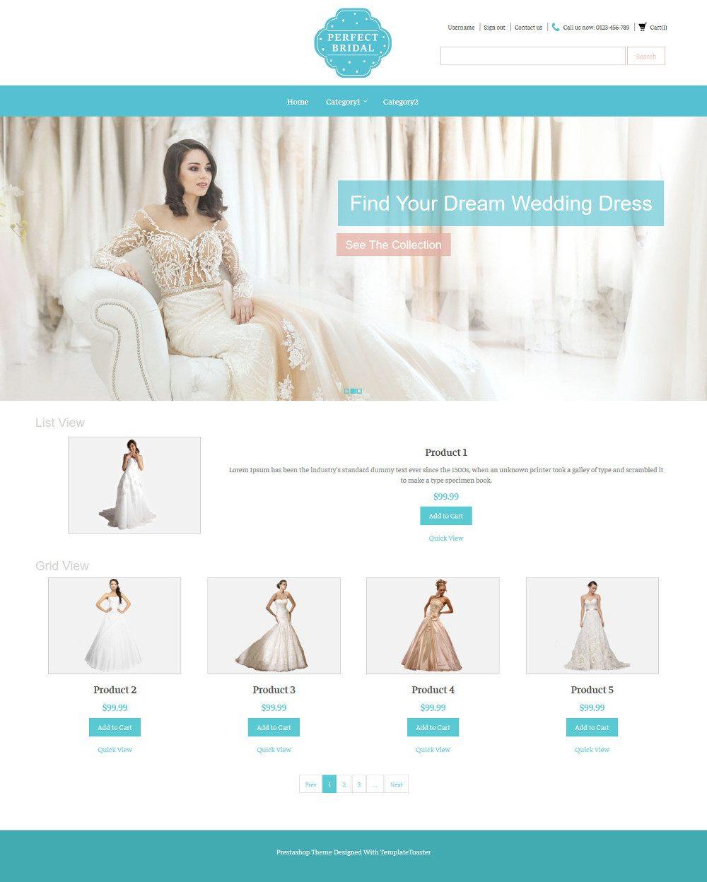 Perfect Bridal Wedding Dresses Virtuemart Template
