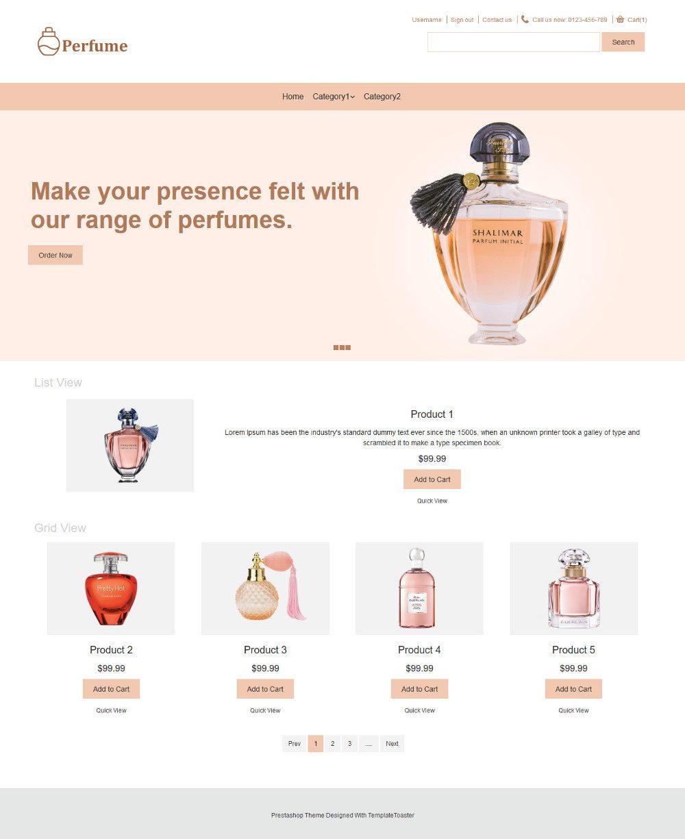 Perfume Online Store Virtuemart Template