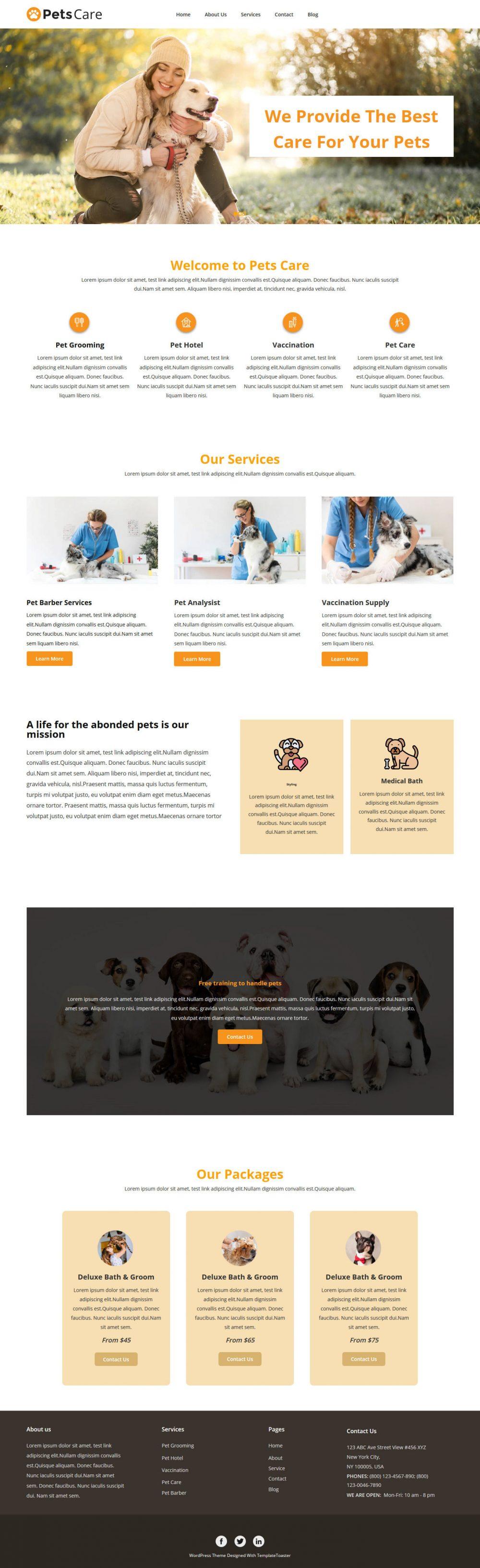 Pets Care Grooming WordPress Theme