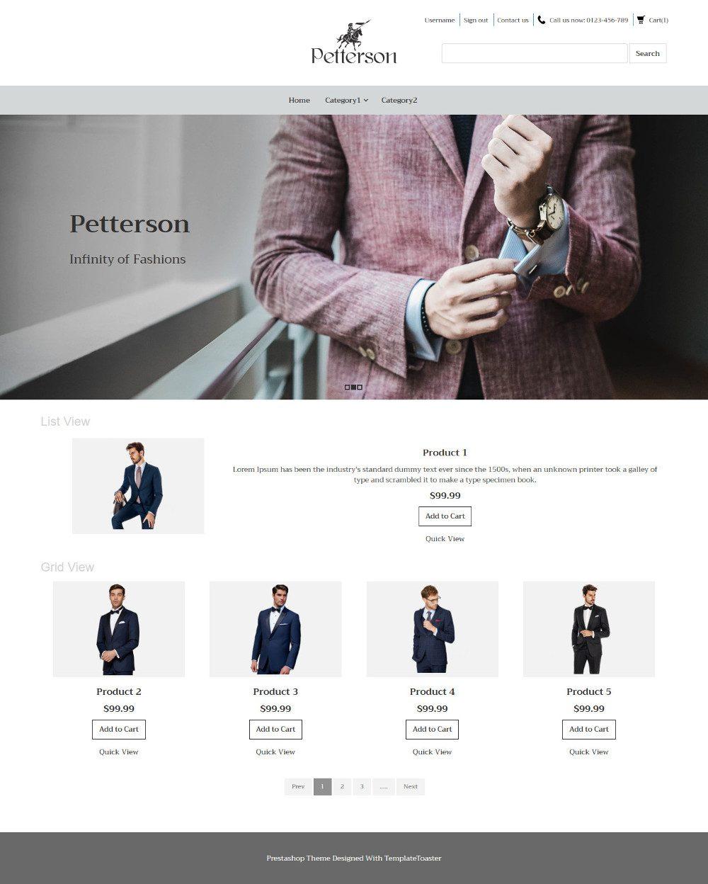 Pettersen Clothing Virtuemart Template