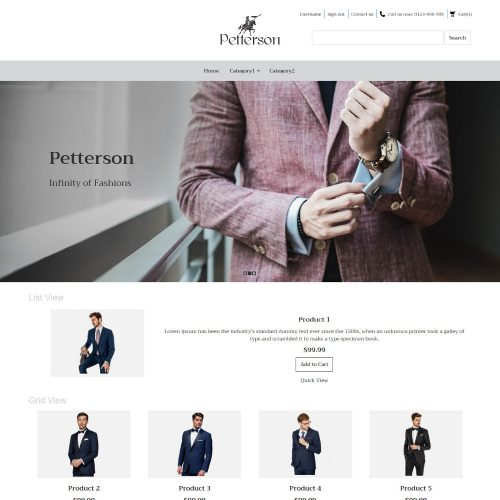 Pettersen Clothing Virtuemart Template