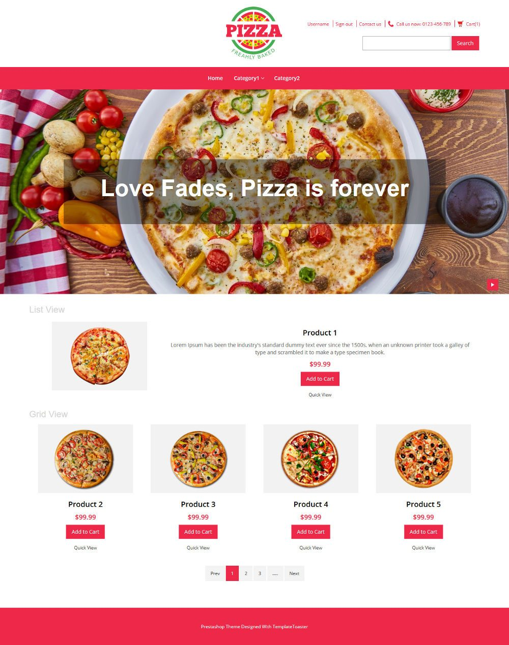 Pizza Online Store OpenCart Theme