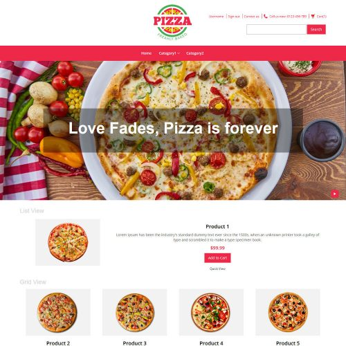 Pizza Online Store Virtuemart Template