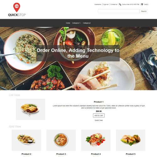 Quick Stop Online Restaurant Virtuemart Template