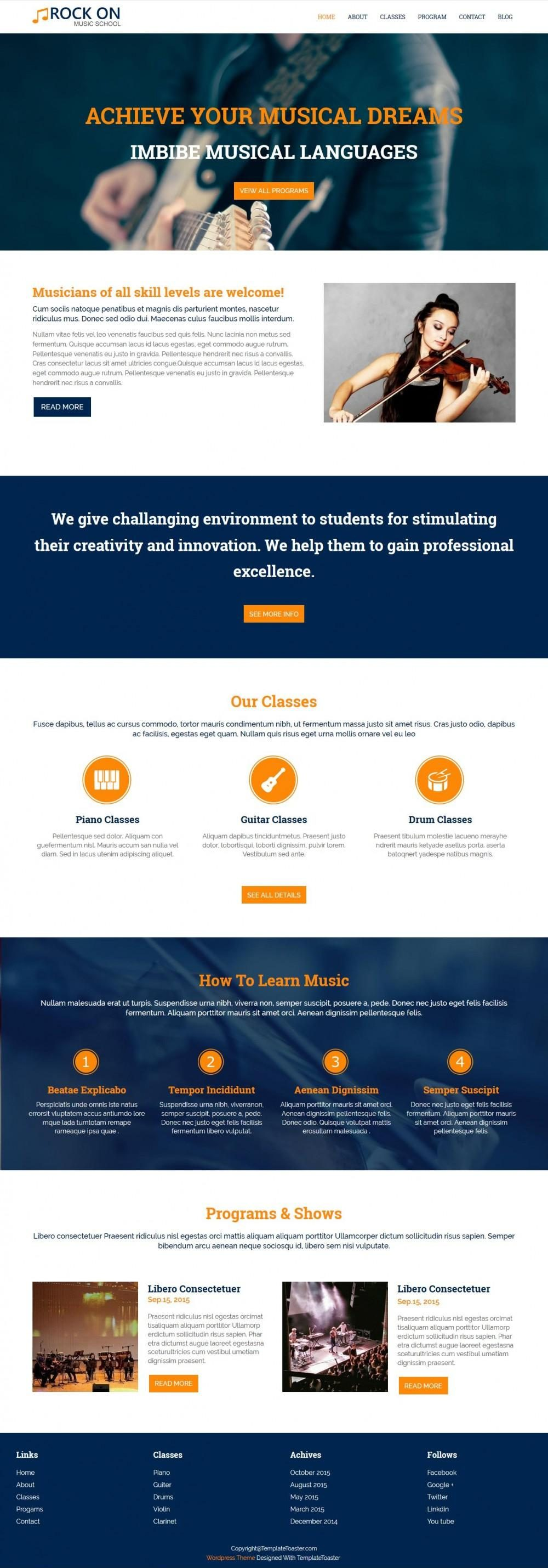 Rock On Music Academies And Schools Drupal Theme