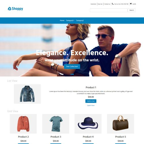 Shoppy Fashion Clothes and Accessories Virtuemart Template