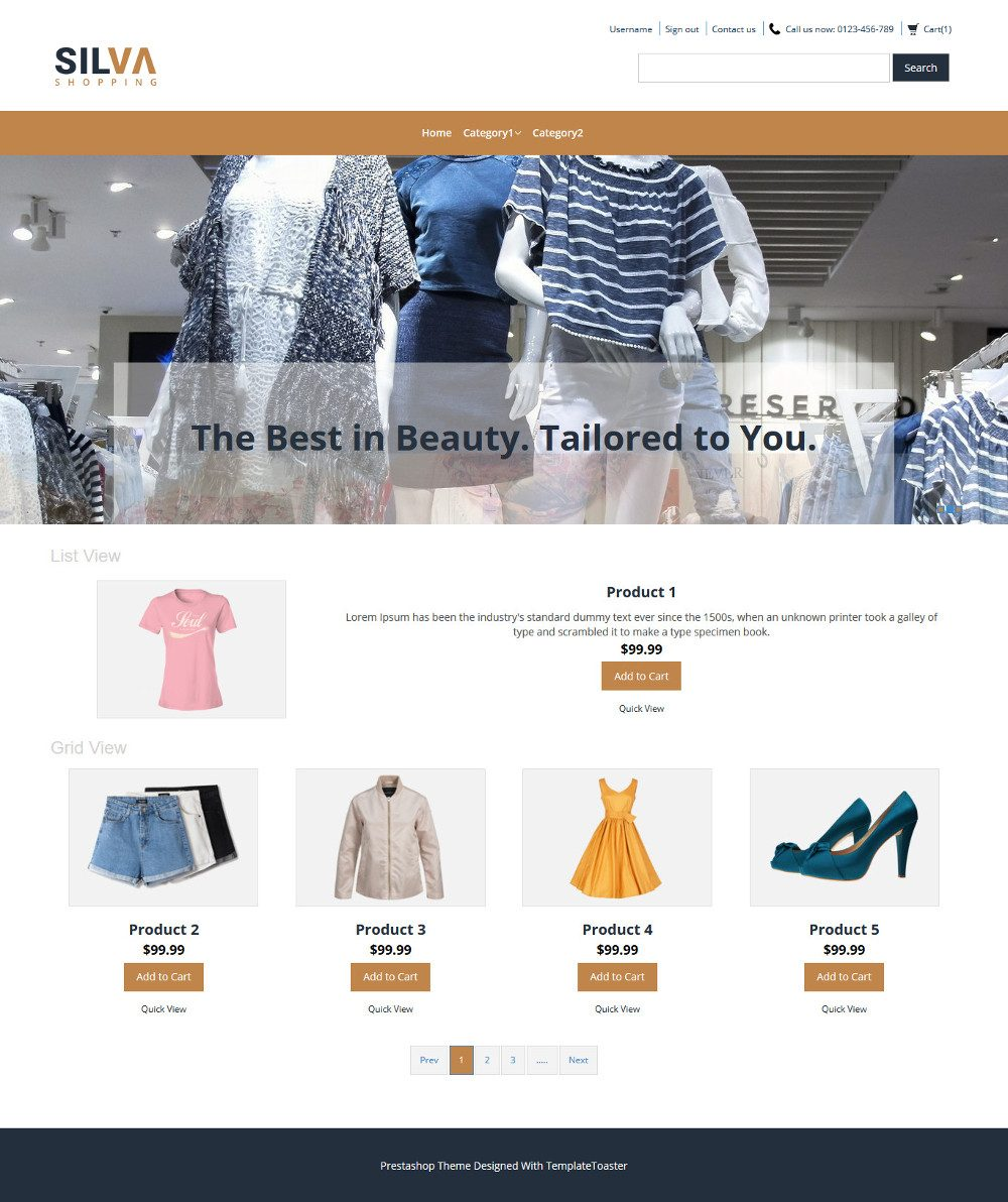 Silva Clothing Store Virtuemart Template