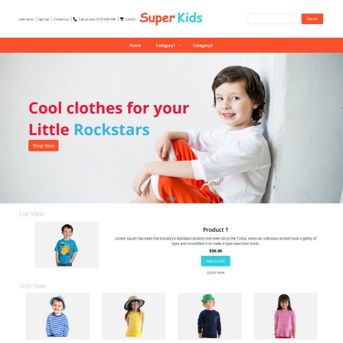Super Kids Clothing Virtuemart Template