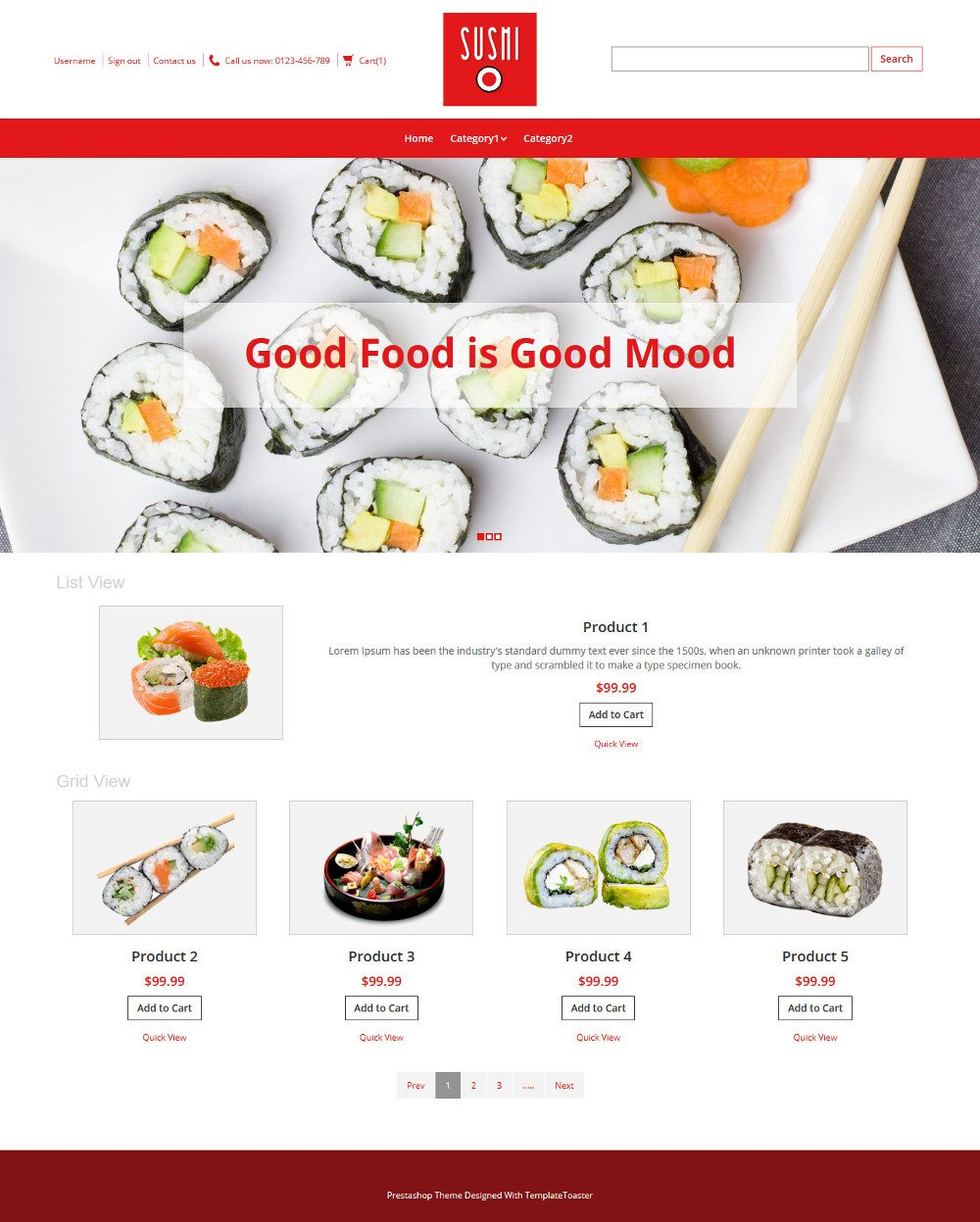 Sushi Foods OpenCart Theme