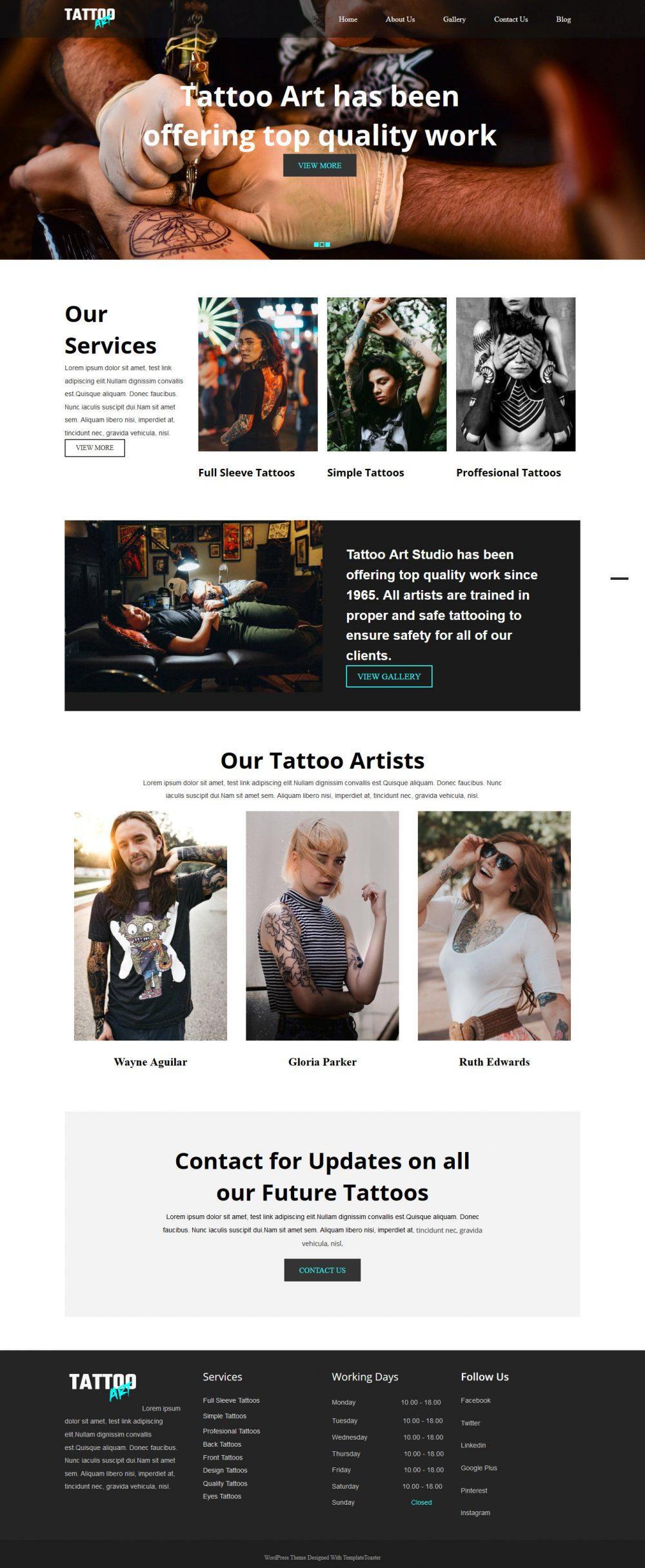Tattoo Art Tattoo Studio HTML Template