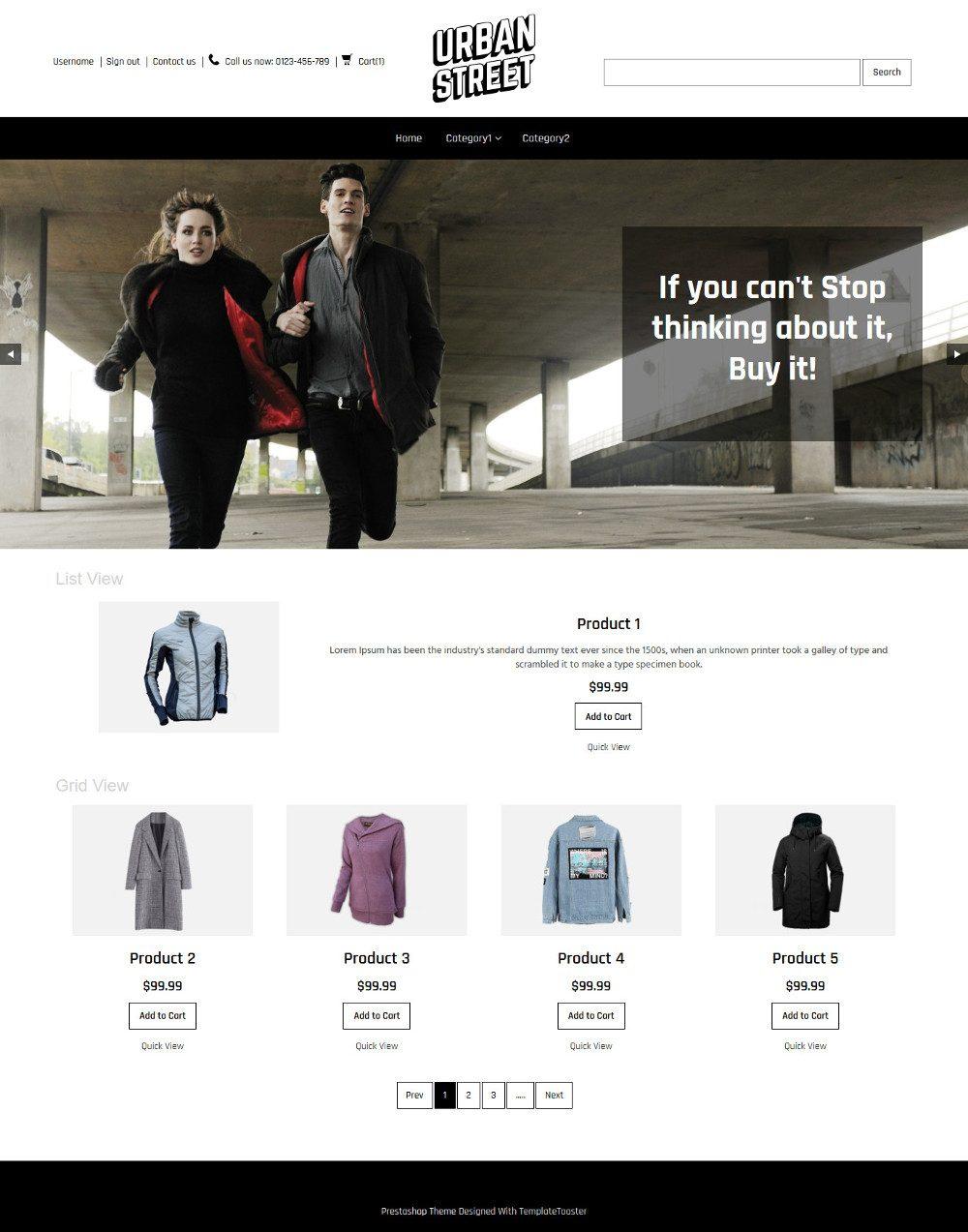 Urban Street Clothing Store Virtuemart Template