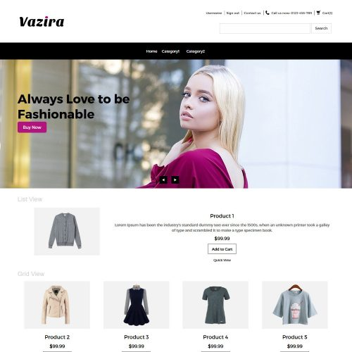 Vazira Fashion Clothes and Accessories OpenCart Theme