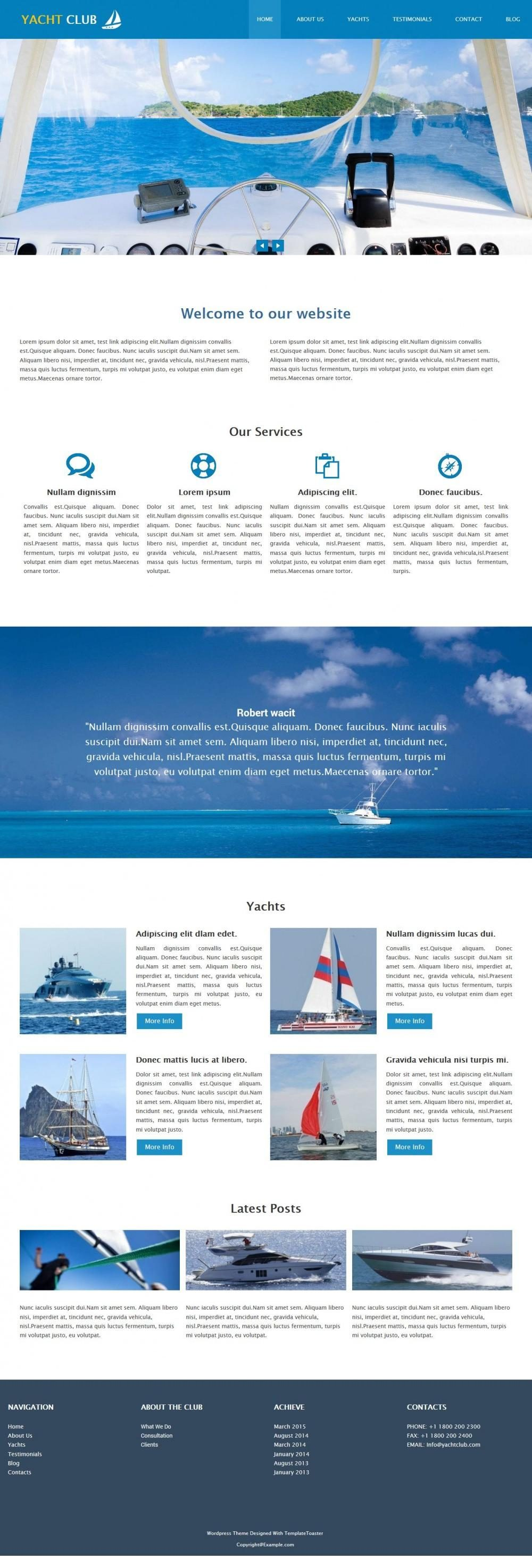 Yacht Club Sports Drupal Theme