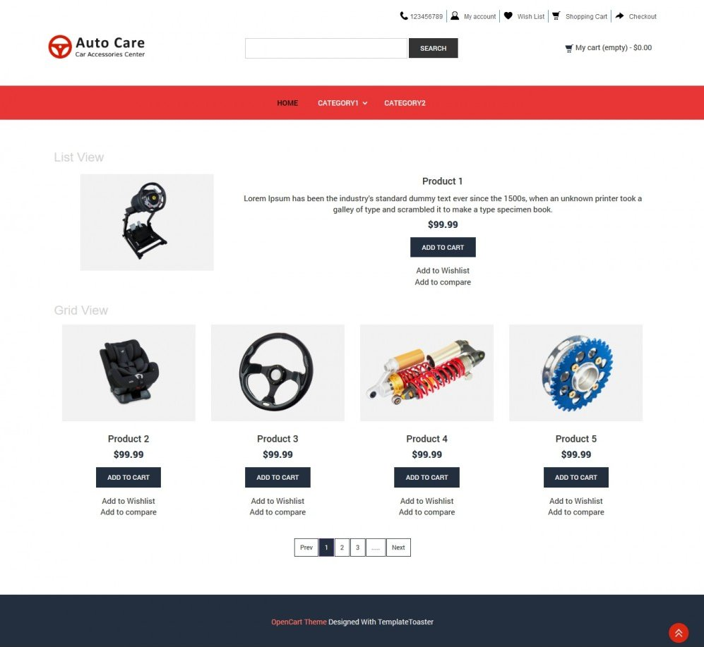 auto care automobile accessories opencart theme