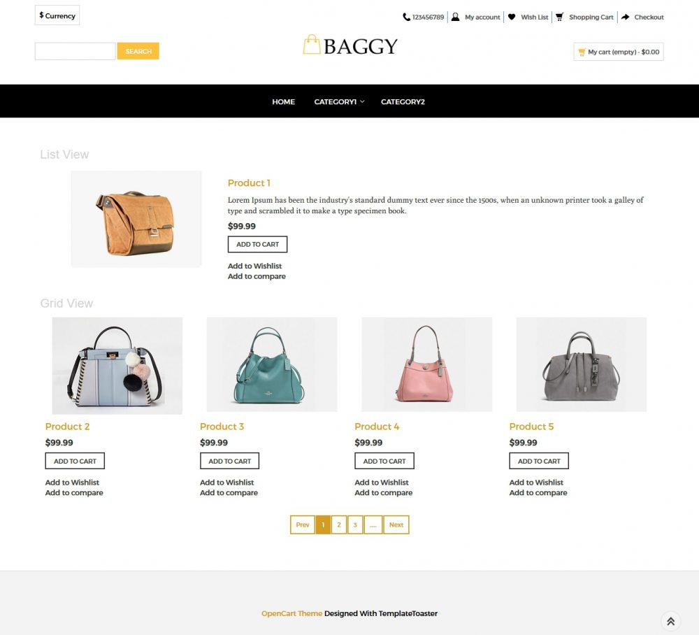 Baggy - Bag shop OpenCart Theme