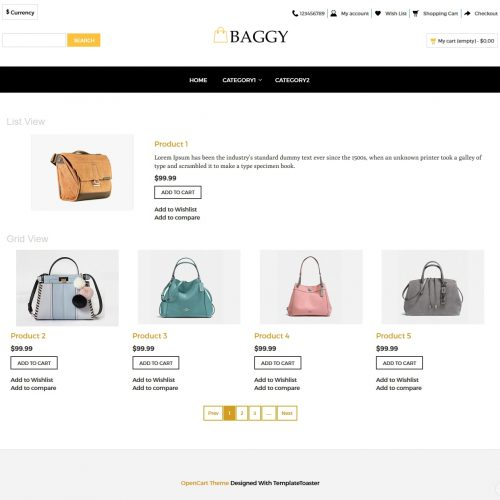 Baggy - Bag shop OpenCart Theme