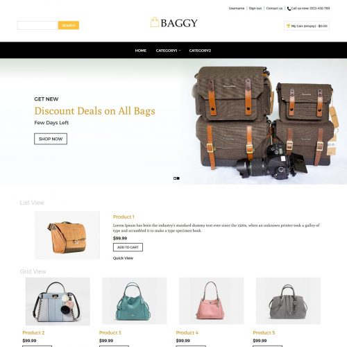 baggy bag shop virtuemart template