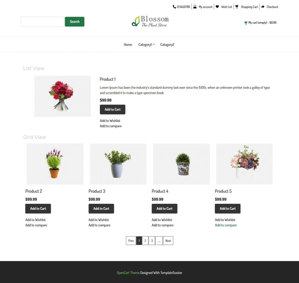 blossom plant store opencart theme