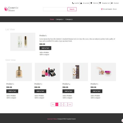 Cosmetic Store Opencart Theme