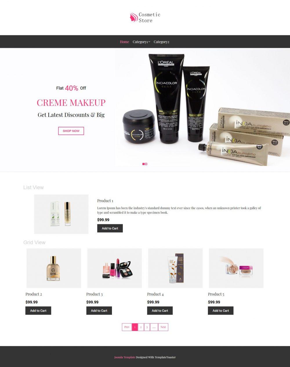 Cosmetic Store Virtuemart Template