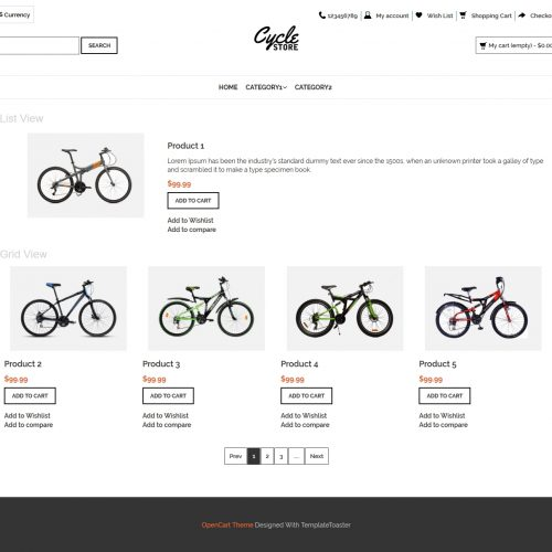 Cycle Store Opencart Theme