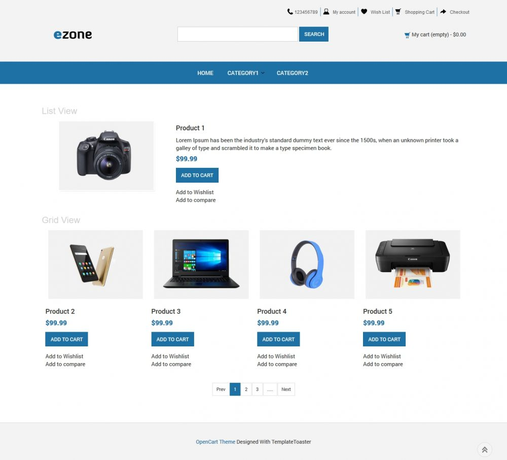 electronic store opencart theme