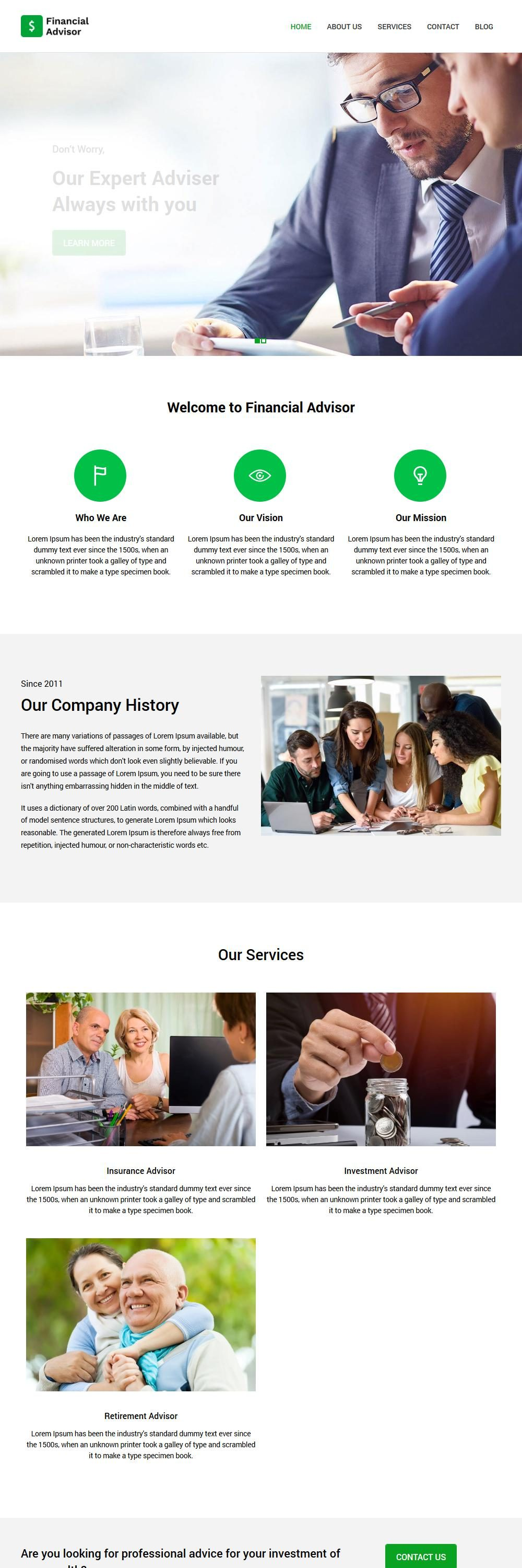 financial advisor blogger template