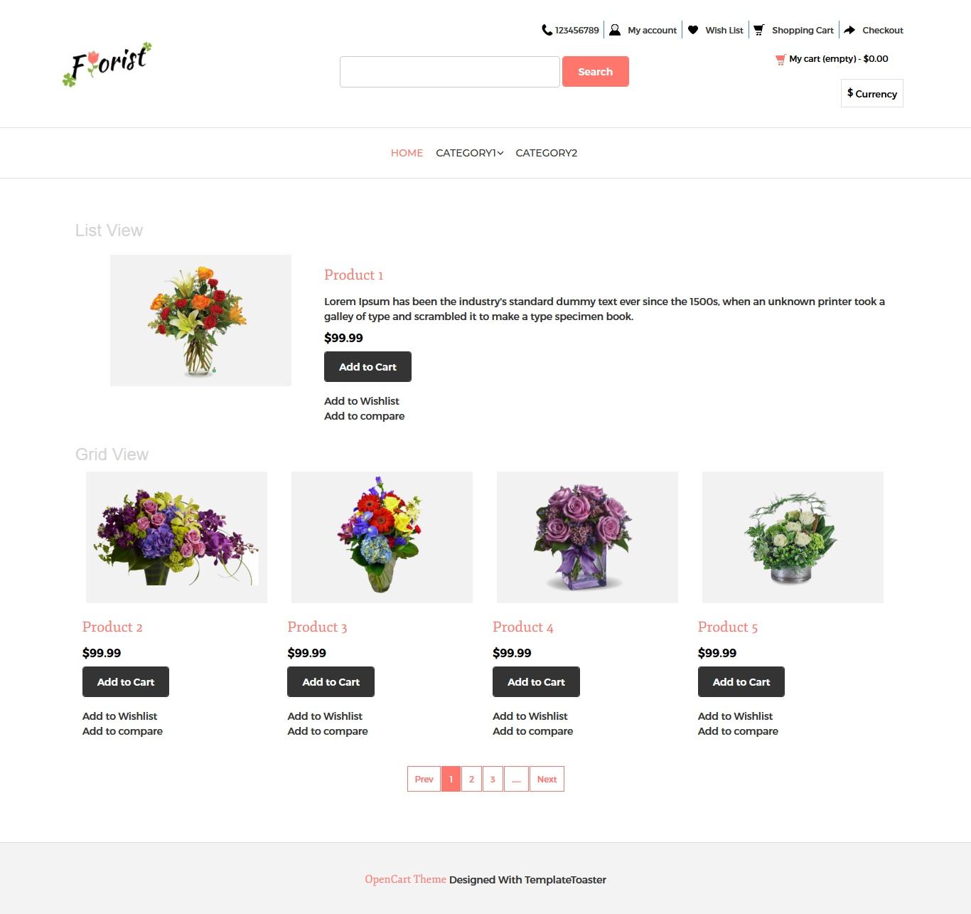Flower Shop OpenCart Theme - TemplateToaster