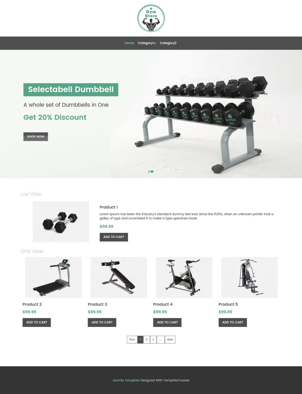 Gym Store Fitness Equipment Shop Virtuemart Template