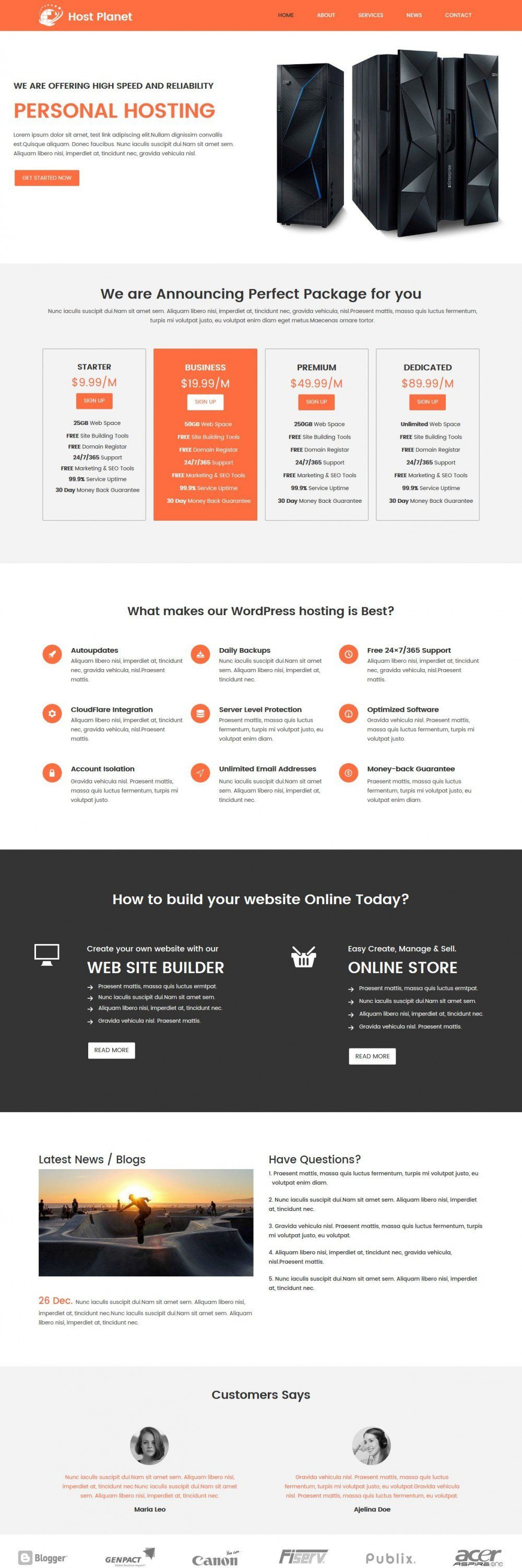 host planet web hosting company blogger template