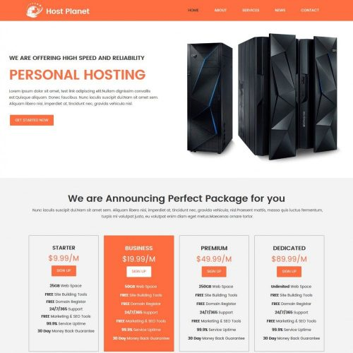 Host Planet Web Hosting Company HTML Template