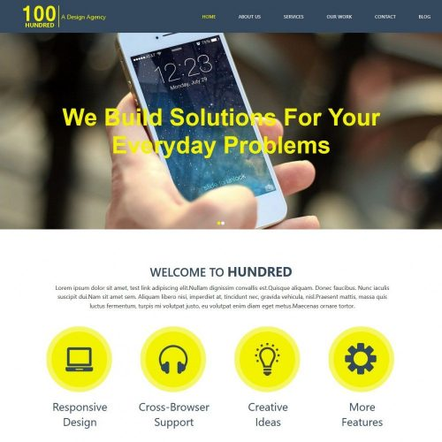 hundred app design development html template