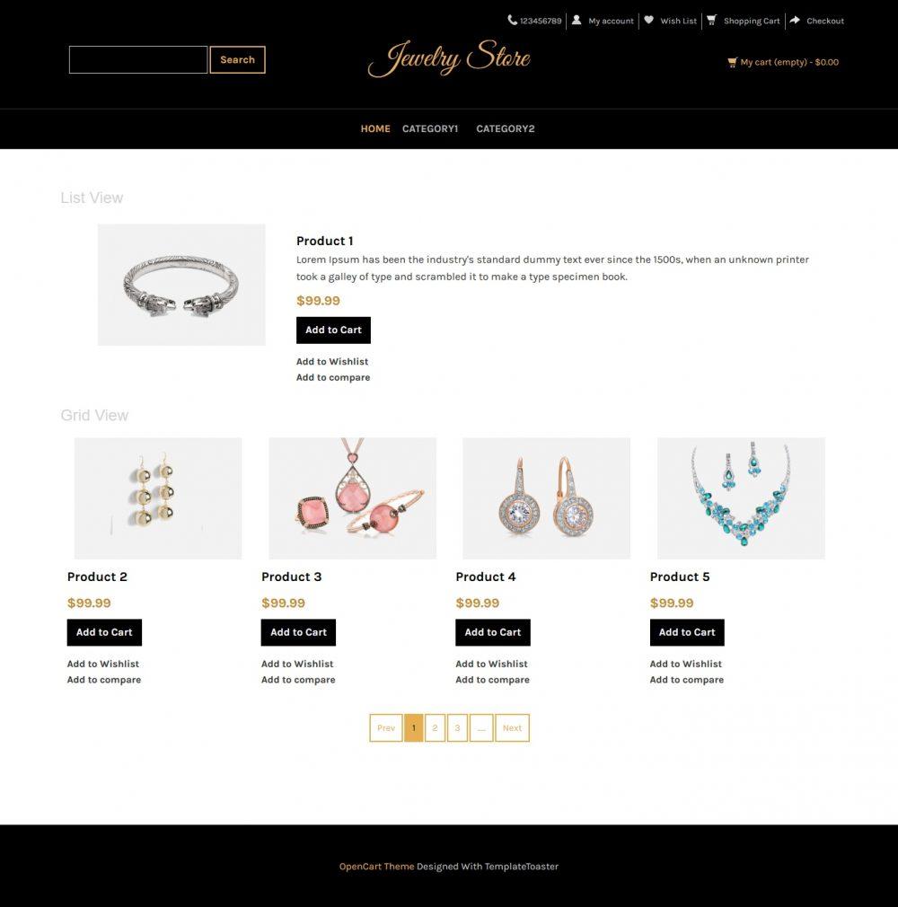 Jewellery Store Opencart Theme