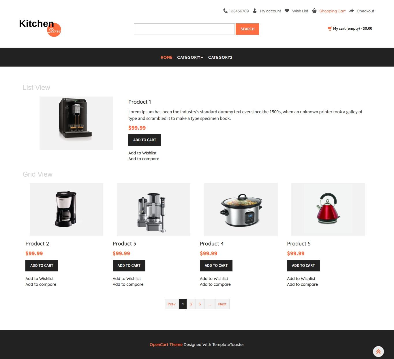 Kitchen Store Opencart Theme Templatetoaster