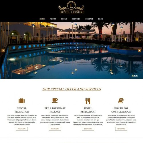 leisure hotel restaurant blogger template